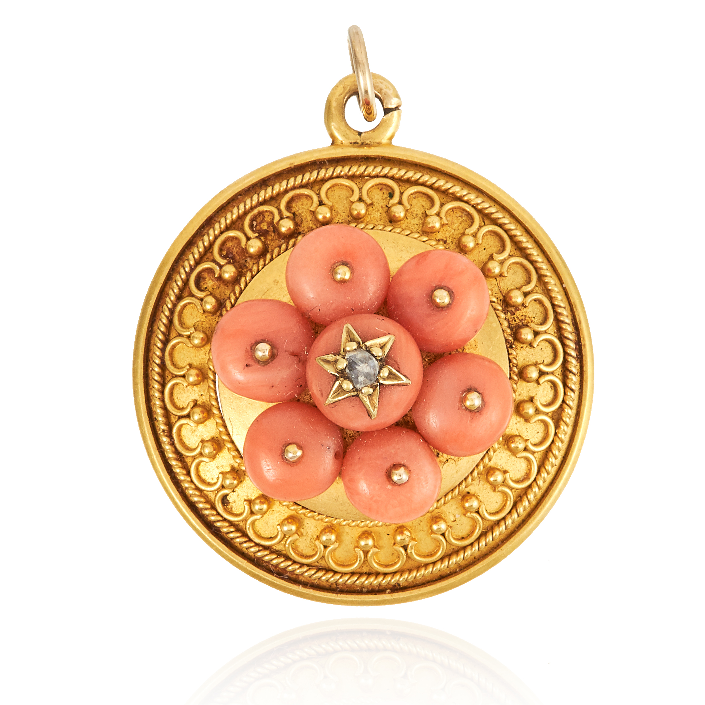 AN ANTIQUE CORAL AND DIAMOND PENDANT in high carat yellow gold, comprising of seven coral beads, set