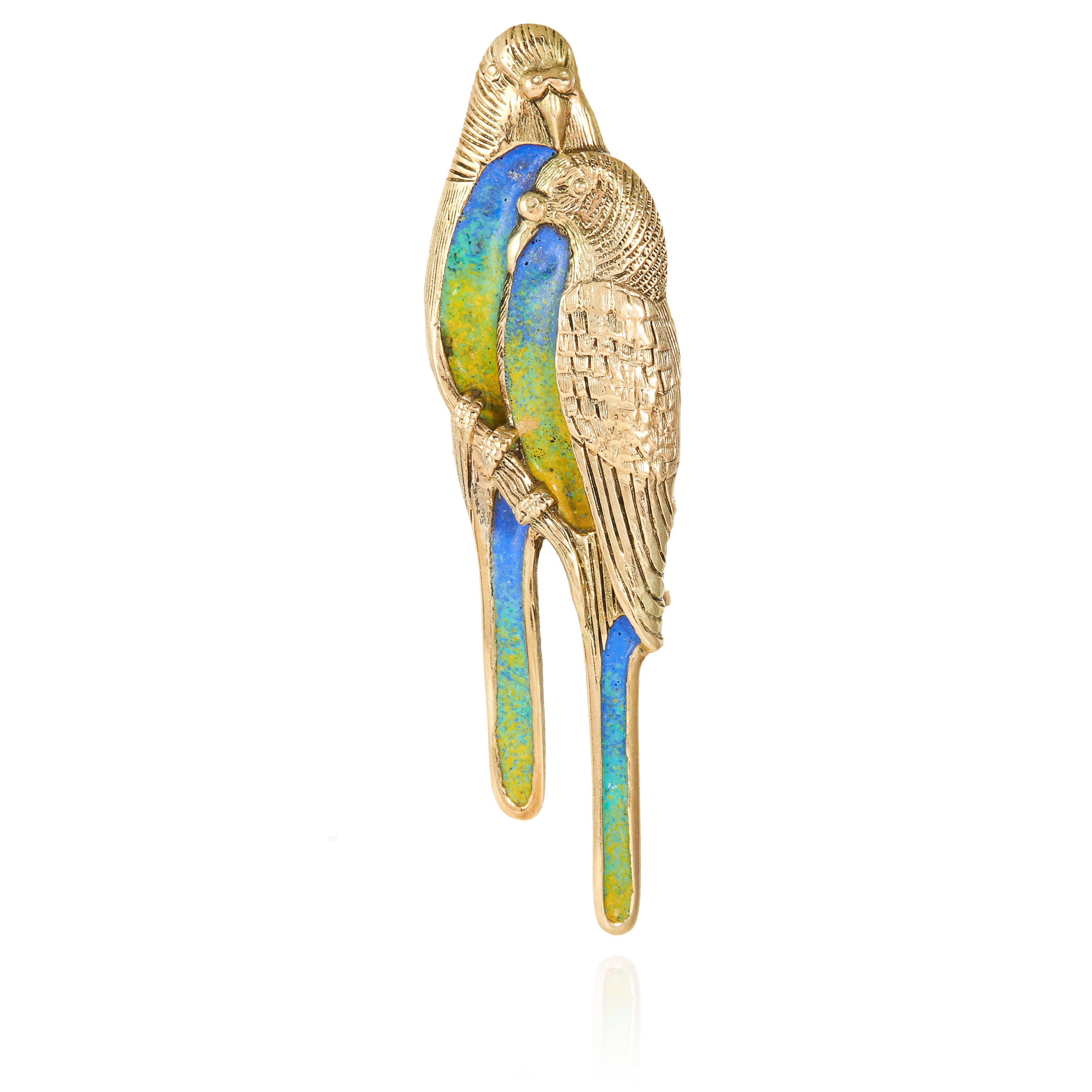 AN ENAMEL BIRD BROOCH designed as two parakeets with enamelled bodies and tails, unmarked, 6cm, 8.