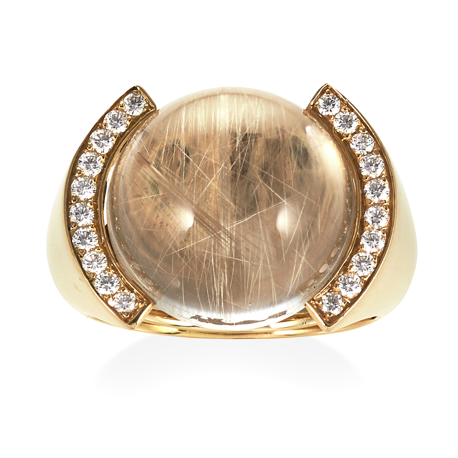 A VINTAGE RUTILE QUARTZ AND DIAMOND DRESS RING, CARTIER in 18ct yellow gold, set with a central