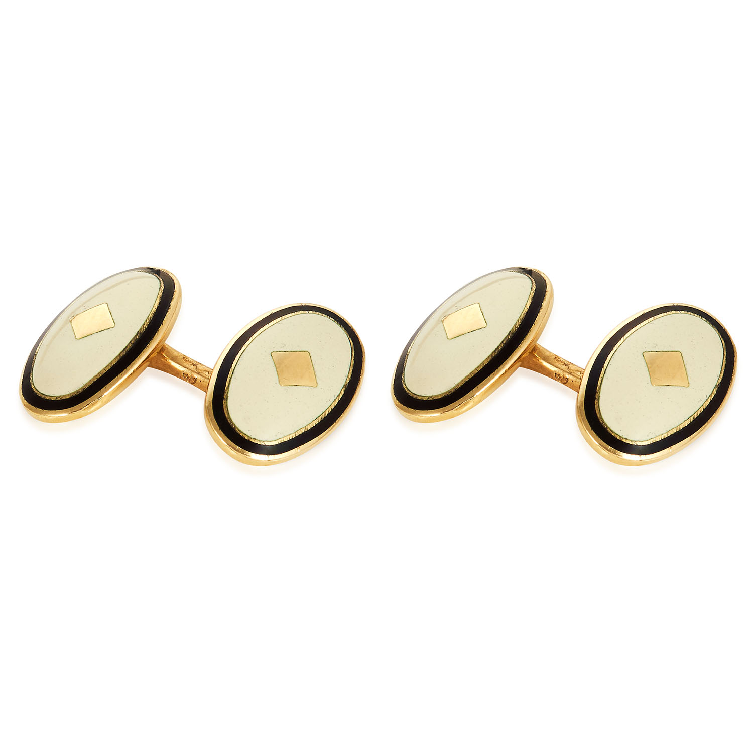 A PAIR OF VINTAGE BLACK AND WHITE ENAMEL CUFFLINKS in 18ct yellow gold, each formed of two oval