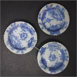 Three Japanese porcelain saucers with blue and white leaf transfers, 115mm diameter, with four