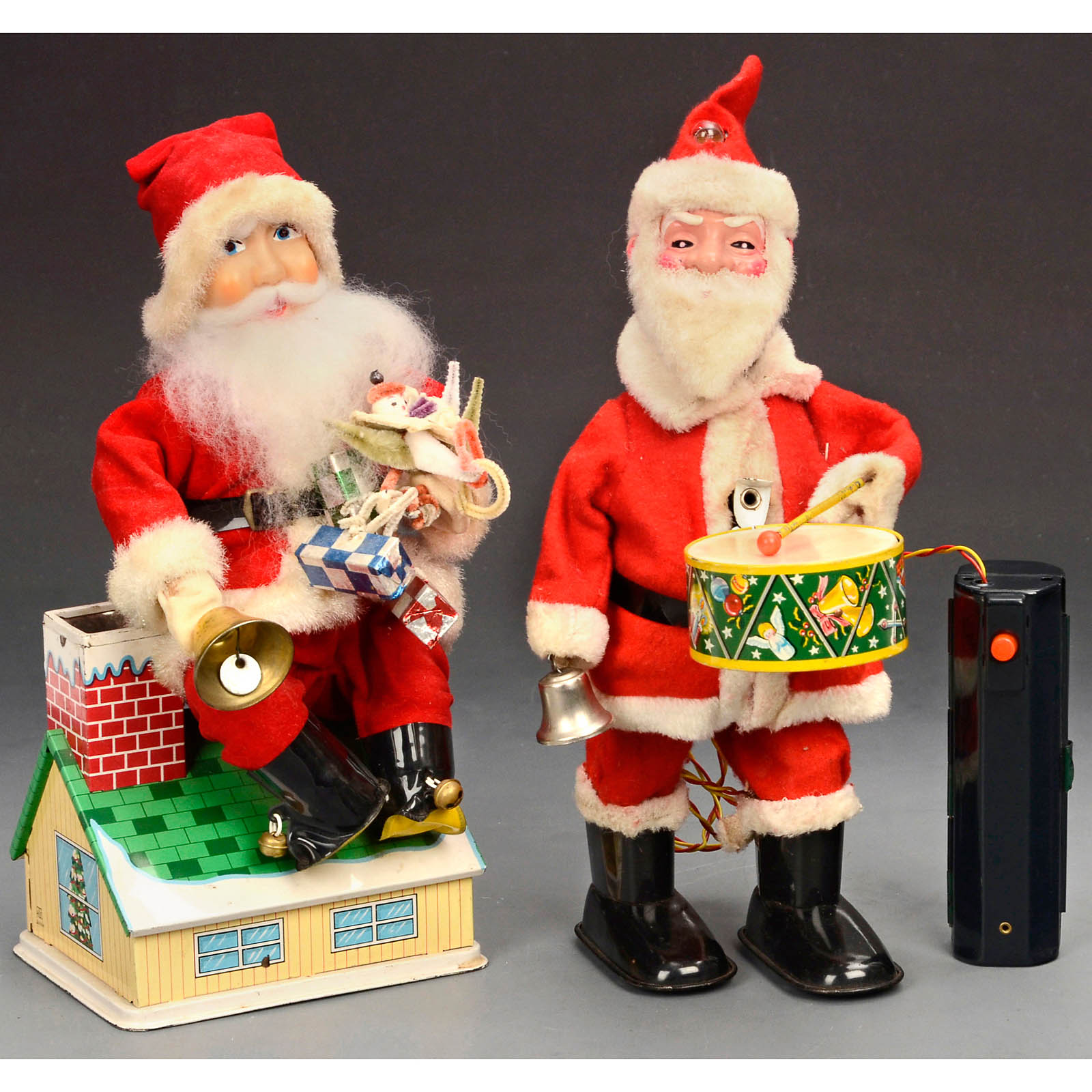 2 Battery-Operated Santas, c. 1960 Japanese Christmas tin toys. 1 ...