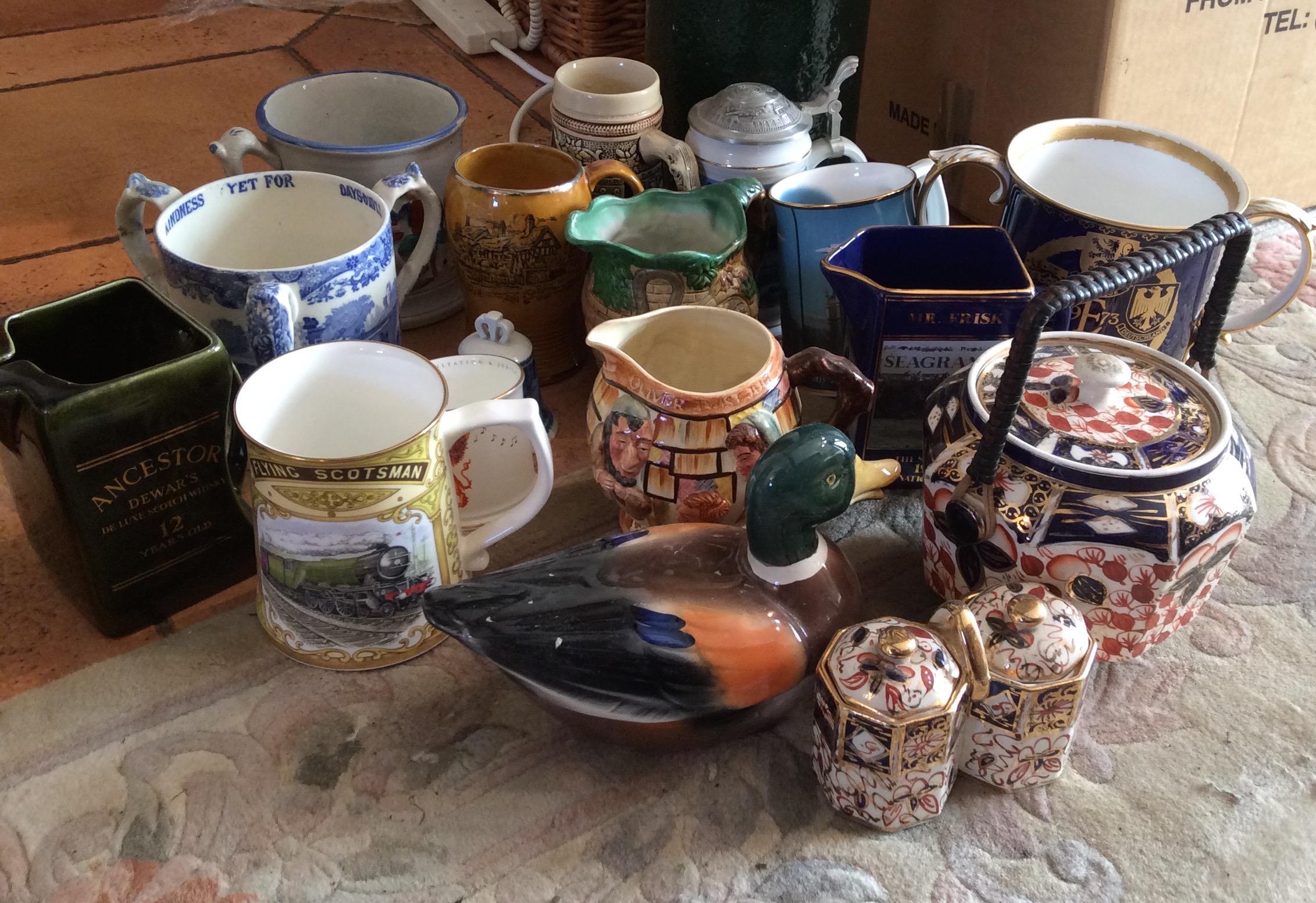 Lot 58 - Box lot ceramics mainly jugs inc. Spode Coalport etc.