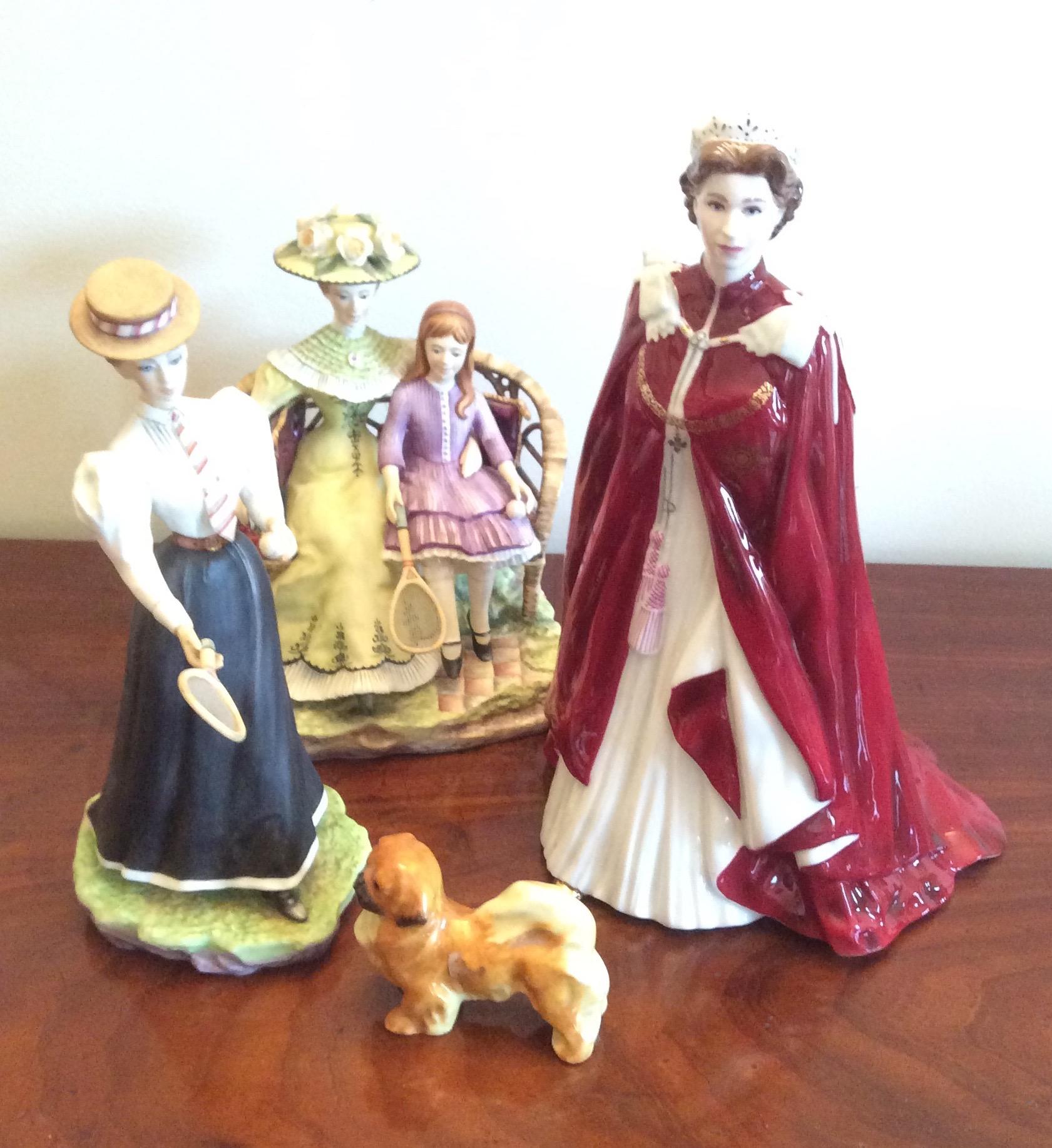 Lot 35 - Four Royal Worcester figures inc. Queen Elizabeth