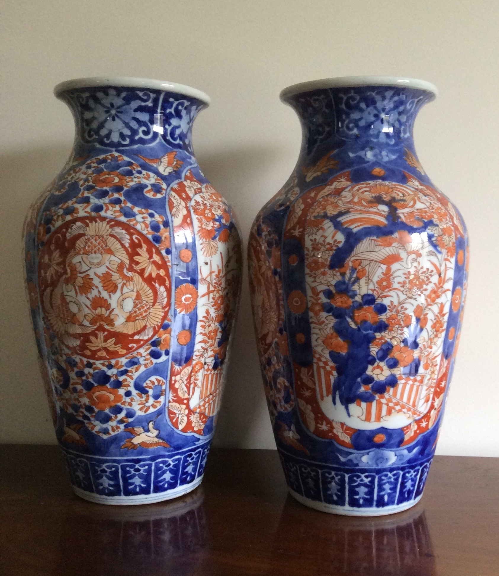 Lot 25 - Pair 19th c Japanese imari porcelain vases 39 cms