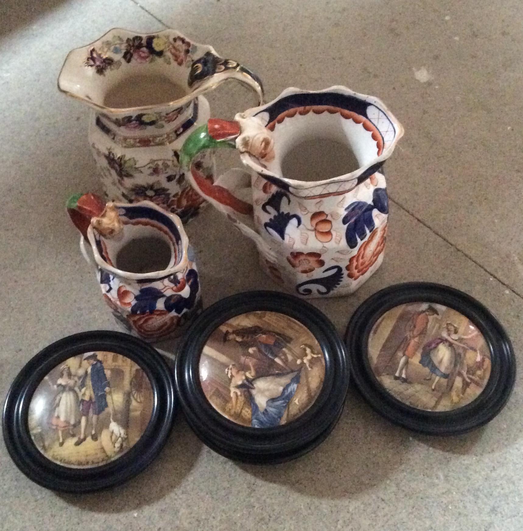 Lot 55 - Three Masons jugs and four Cries of London pot lids