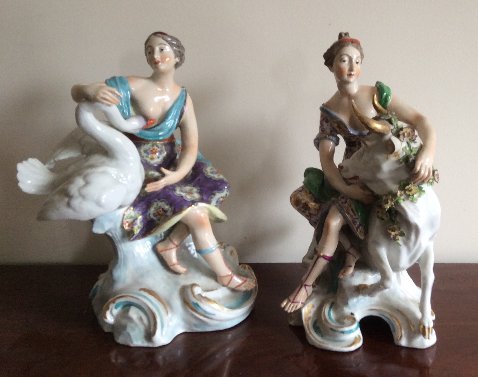Lot 26 - Pair late Meissen porcelain figures Leda and the swan and Europa