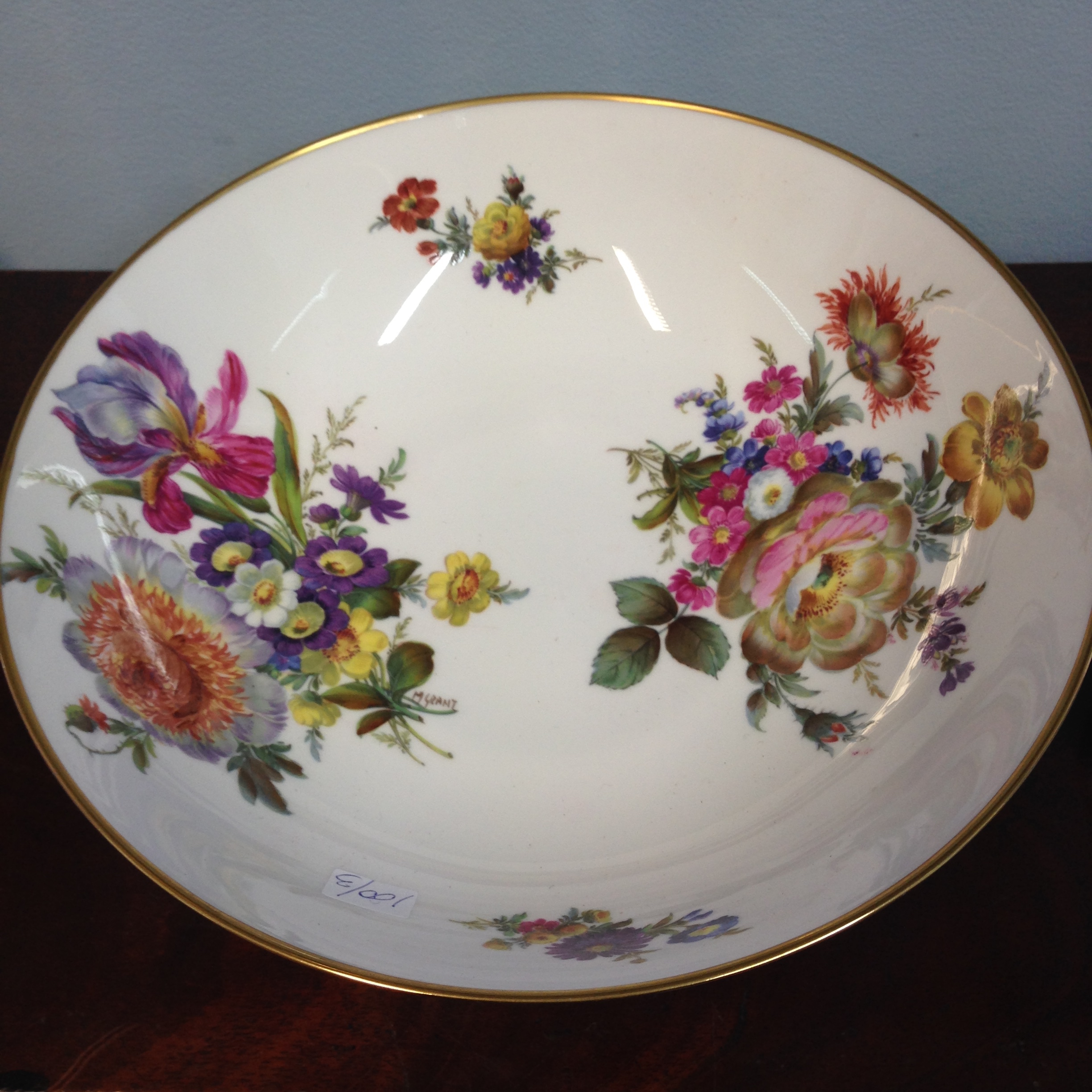 """Lot 2 - Fine quality Caverswall hand painted bowl signed by the artist M.Grant """"Summer"""""""