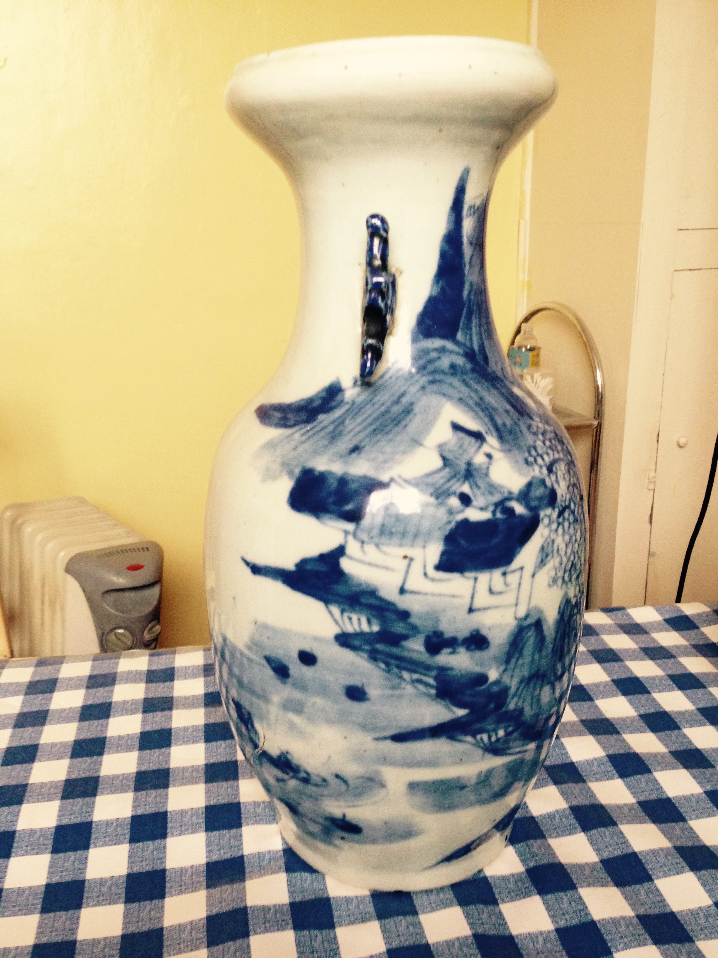 Lot 3 - Chinese blue and white baluster vase with firing cracks.