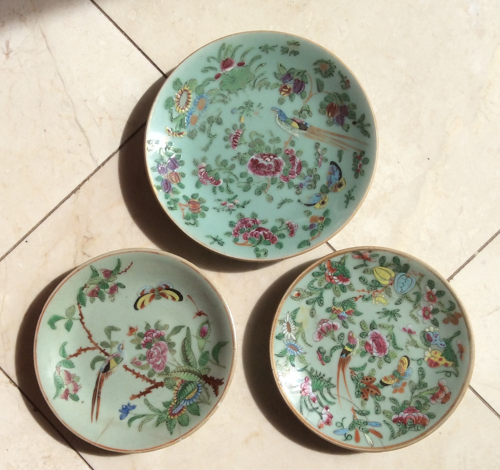 Lot 18 - Eight celadon porcelain plates some a/f