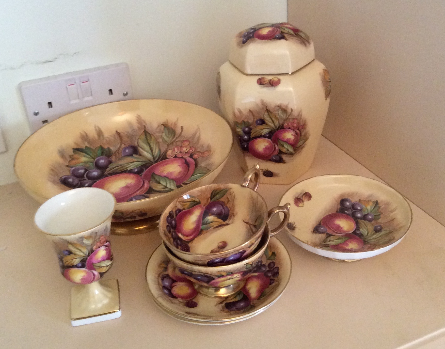 Lot 56 - Six various Aynsley fruit decorated items