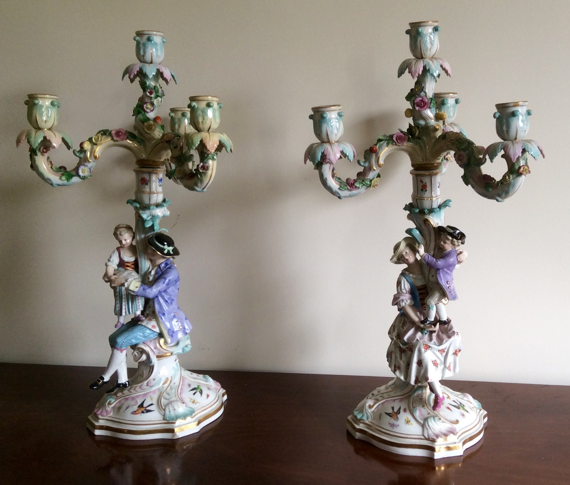 Lot 21 - Pair late Meissen candelabra good quality with slight nibbles 48