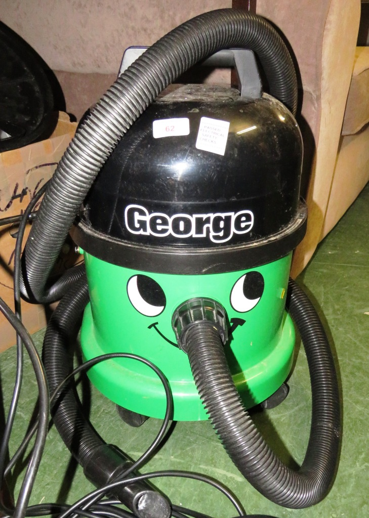 Lot 62 - GREEN 'GEORGE' WET AND DRY VACUUM CLEANER WITH ACCESSORIES