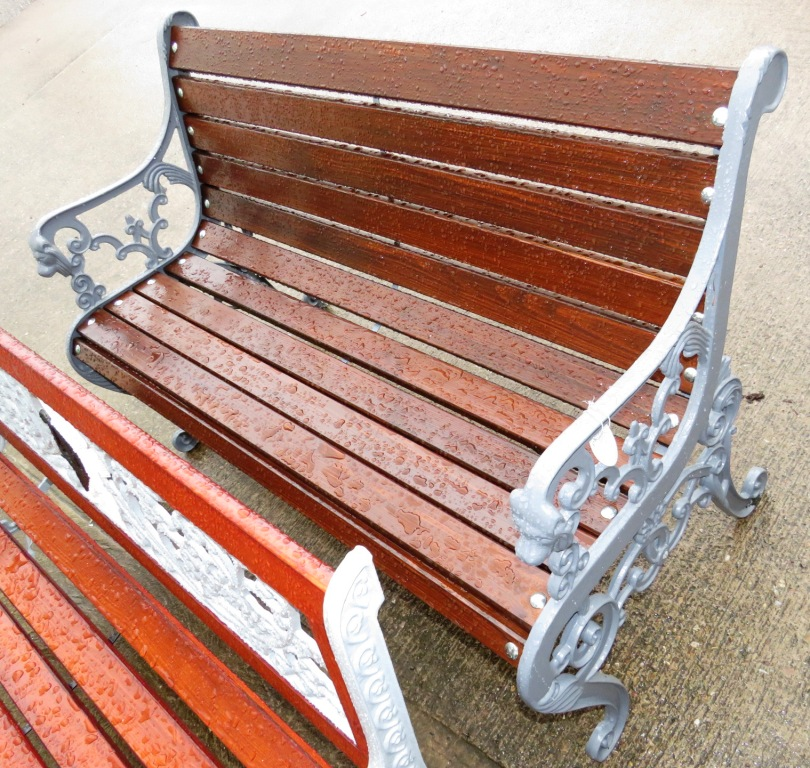 Lot 13 - GARDEN BENCH WITH GREY PAINTED CAST METAL ENDS AND WOODEN SLATS