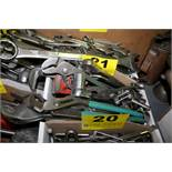 ASSORTED CRESCENT, PIPE, AND SOCKET WRENCHES IN BOX