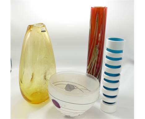 A collection of art glass items to include:m Dartington tall vase, Kosta Buda artist choice bowl etc