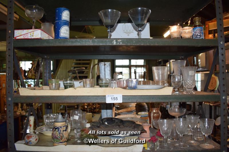 Lot 155 - THREE SMALL SHELVES OF MIXED GLASSWARES