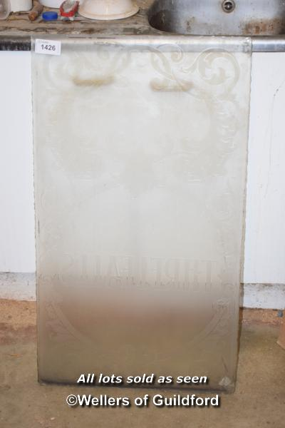 Lot 1426 - ETCHED GLASS PANEL, 55CM X 95CM