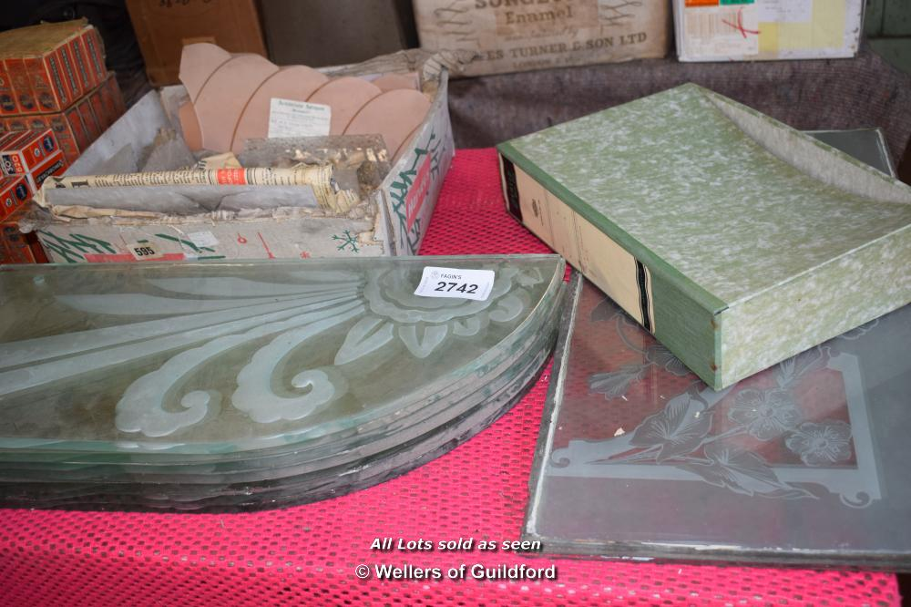 Lot 2742 - ETCHED GLASS WINDOW PANELS