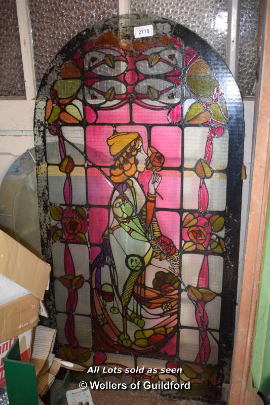 Lot 2770 - STAINED GLASS WINDOW, 146CM TALL