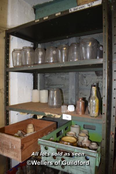 Lot 70 - TWO SHELVES OF GLASS JARS AND BOTTLES