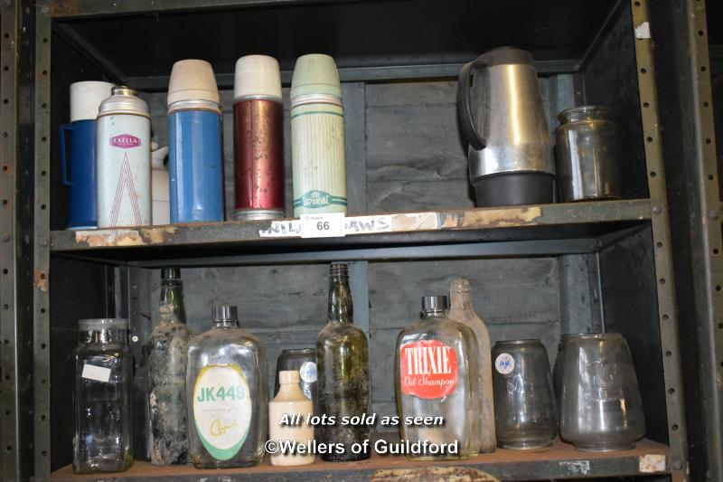 Lot 66 - SHELF OF THERMOS FLASKS