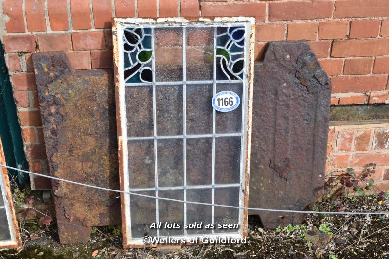 Lot 1166 - STAINED GLASS CRITTALL WINDOW, 51CM X 93CM