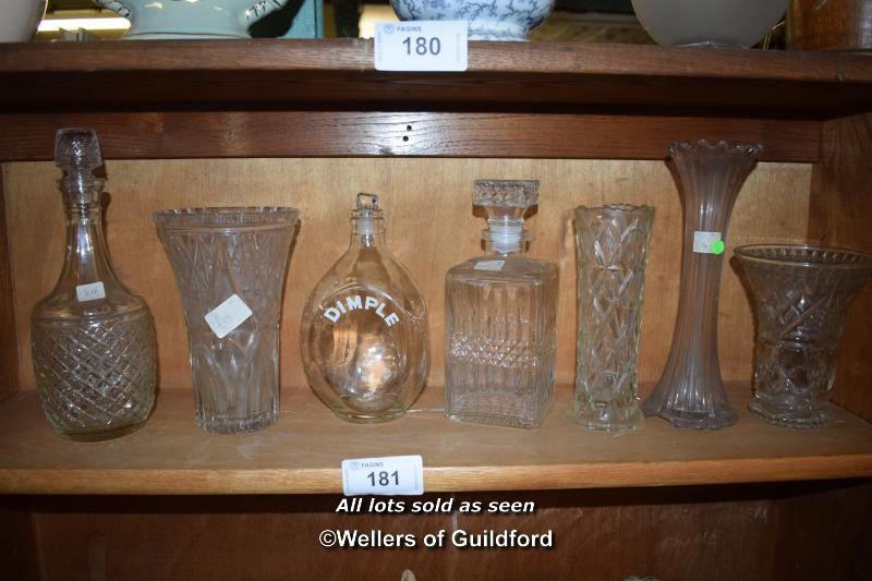Lot 181 - SMALL SHELF OF MAINLY CUT GLASS