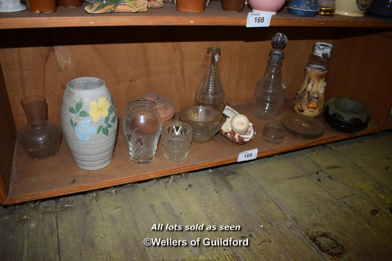 Lot 169 - SMALL SHELF OF MIXED PORCELAIN AND GLASSWARES