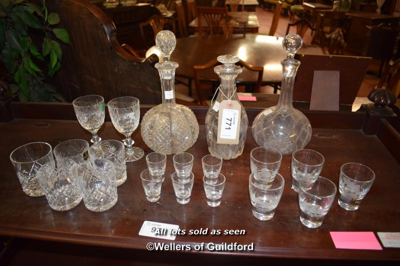 Lot 771 - COLLECTION OF CUT GLASS DECANTERS AND VARIOUS OTHER GLASSWARE (1094)