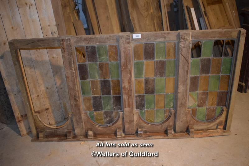 Lot 1315 - WOODEN PUB DIVIDER WITH FOUR COLOURED GLASS SECTIONS