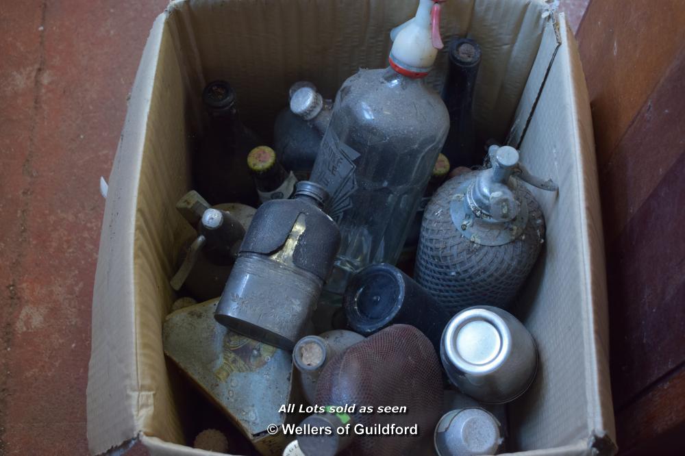 Lot 2835 - SODA SYPHONS, HIP FLASKS AND BEER BOTTLES