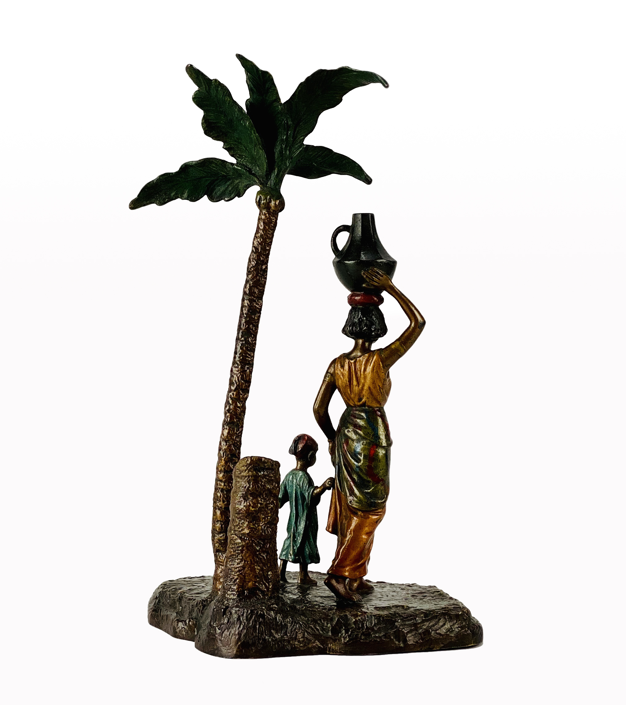 Franz Bergman (1861 ~ 1936) Vienna bronze of a Lady and Boy under a Palm Tree - Image 2 of 3