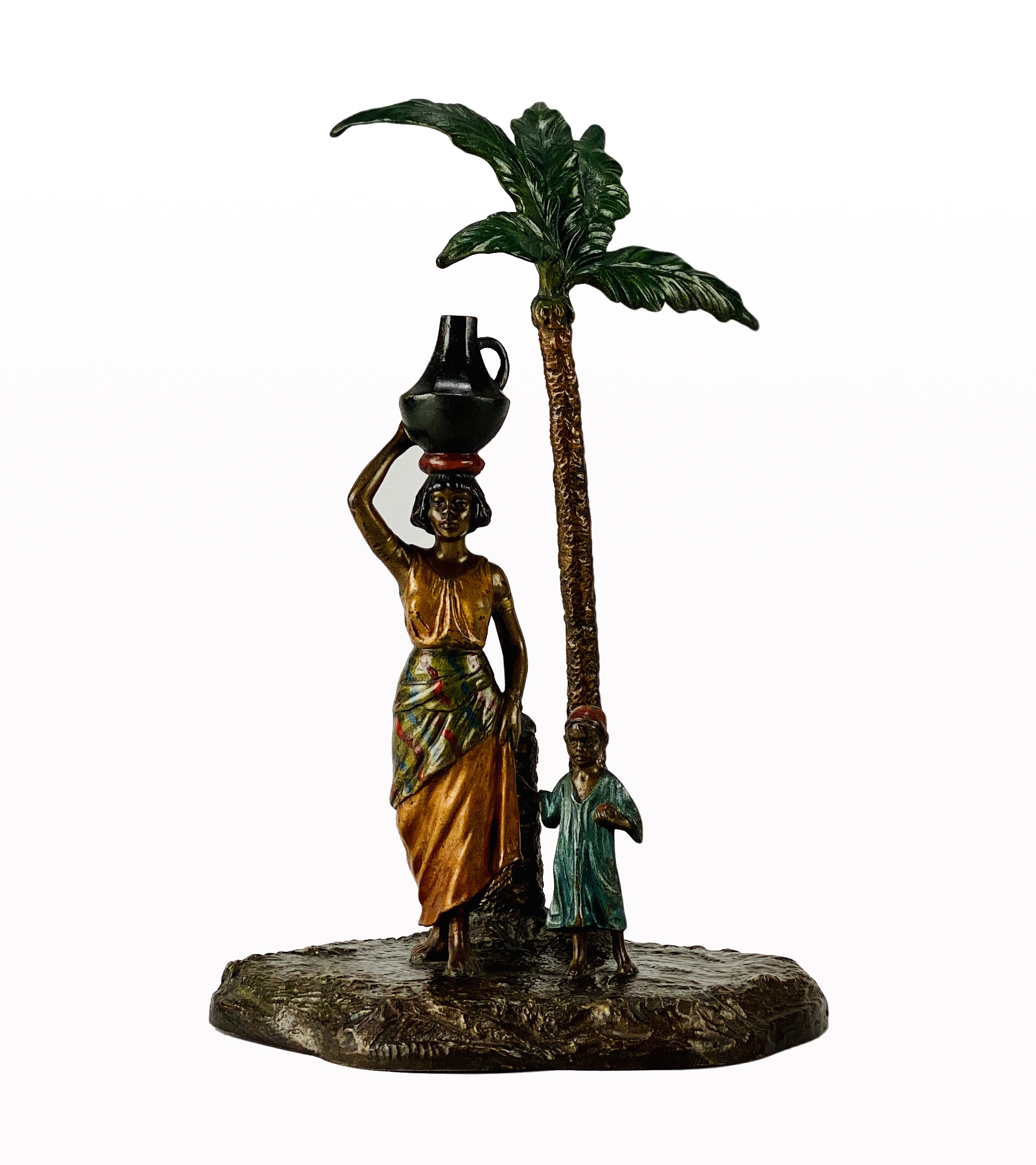 Franz Bergman (1861 ~ 1936) Vienna bronze of a Lady and Boy under a Palm Tree