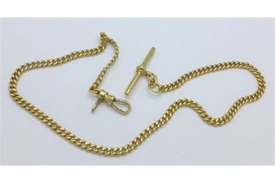 An 18ct Gold Albert Watch Chain With Small 9ct Gold Hook Each Link Marked 18ct 35 8g