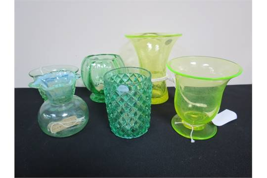 Two Yellow Uranium Glass Flared Form Vases Vaseline Glass Vase