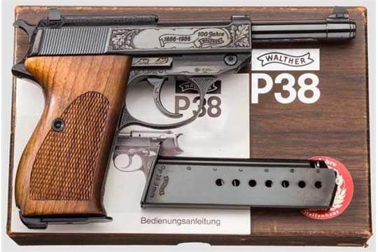 Walther P 38, Ulm, Ganzstahl, Jubiläumsmodell {100 Jahre