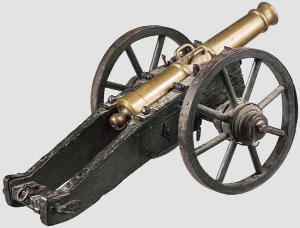 Lot 55 - Modellkanone, deutsch, 1. Hälfte 19. Jhdt. Gestuftes Messingrohr mit verstärkter Mündung im