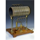 Lot 3353 - A 19th century Tesla Induction Coil machine, large barrel and coil, glass columns,