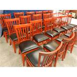 Chair wooden frame. high back slot type cherry color Mahogany like with black upholstery seat to be