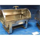 Chafing dish raised base side roll top. votive type burners. seems stainless steel. Qty two. Bid ind