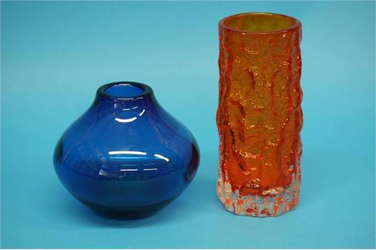 A Whitefriars Tangerine Bark Vase And A Blue Glass Ovoid Shape