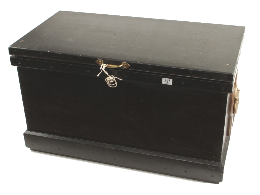 """A pine tool chest 36"""" x 20"""" x 20"""" with mahogany and satin wood panelled lid and a bank of sliding"""