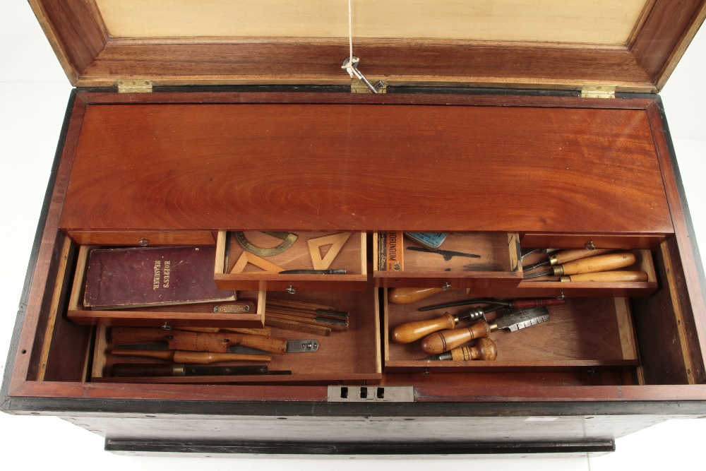 """A pine tool chest 36"""" x 20"""" x 20"""" with mahogany and satin wood panelled lid and a bank of sliding - Image 3 of 4"""