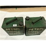 2 BP & Esso petrol cans