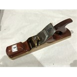 A brass panel plane with mahogany infill G