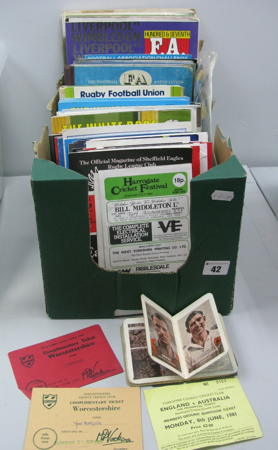 Lot 42 - Yorkshire Cricket Programmes, tickets. Sheffield F. C programmes and others, books, etc:- One Box