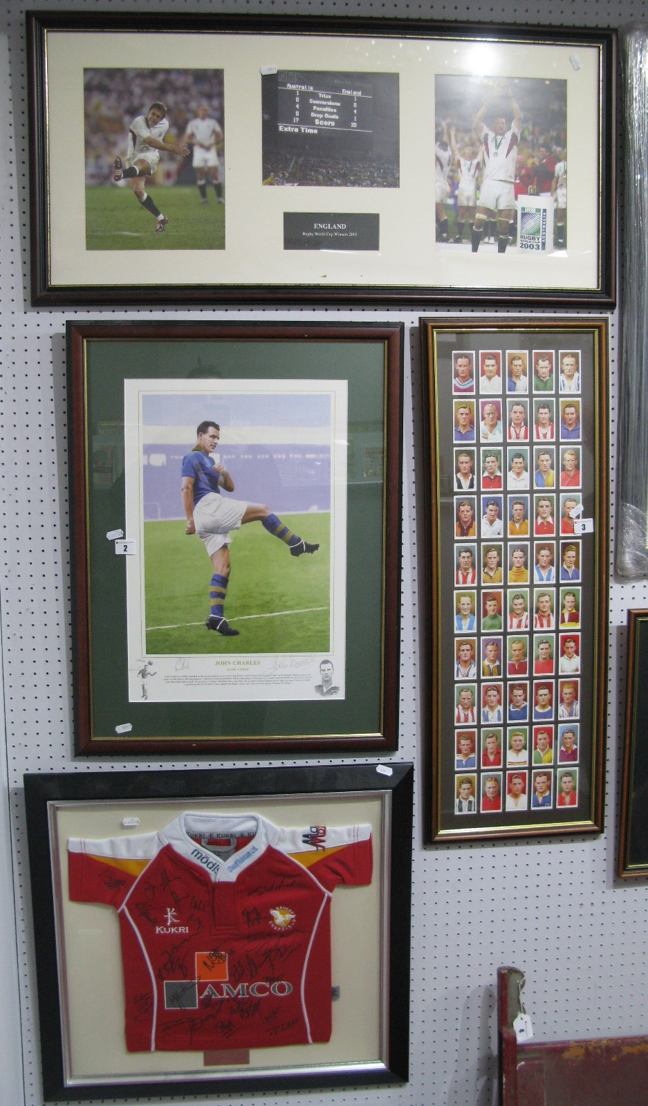 Lot 2 - A John Charles Limited Edition Coloured Print by Gary Brandham, 39.5 x 28cm, pencil signed by player
