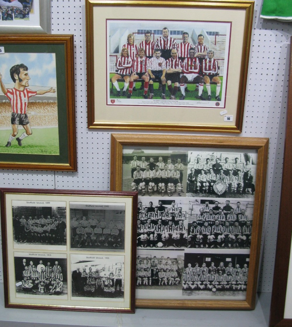 Lot 16 - Sheffield United - Two Team Print Montages, plus hall of fame dream team by Alan Adams limited