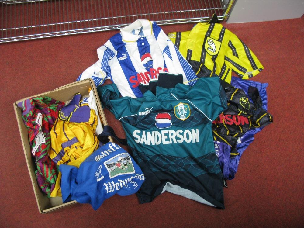 Lot 60 - Sheffield Wednesday Seven Replica Shirts, circa 1990's sweat shirt, tie, flag.